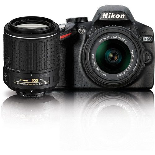Nikon D3200 DSLR Camera with 18-55mm and 55-200mm VR Lenses Kit