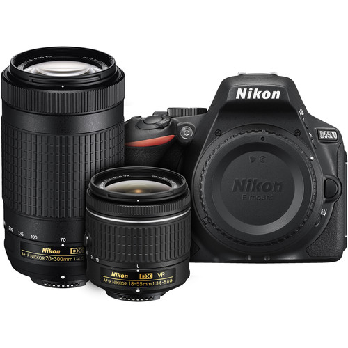 Nikon D5500 DSLR Camera with AF-P 18-55mm VR and 70-300mm Lenses (Black)