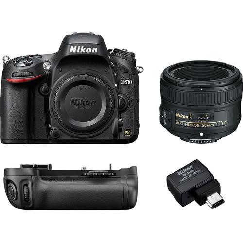 Nikon D610 DSLR Body + 50mm Lens + Power Pack + WiFi Adapter & more