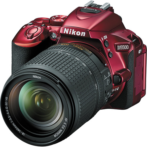 Nikon D5500 DSLR Camera with 18-140mm Lens (Red)