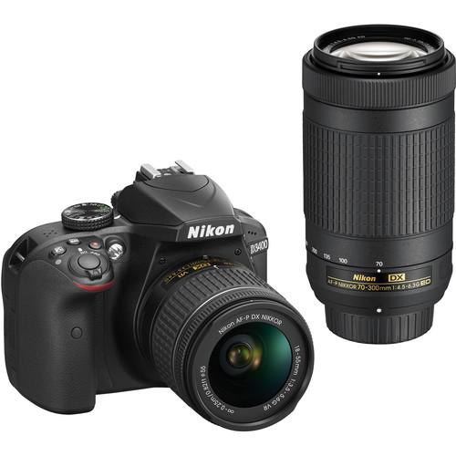 Nikon D3400 DSLR Camera with 18-55mm and 70-300mm Lenses (Black, Refurbished)