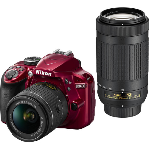 Nikon D3400 DSLR Camera with 18-55mm and 70-300mm Lenses (Red, Refurbished)
