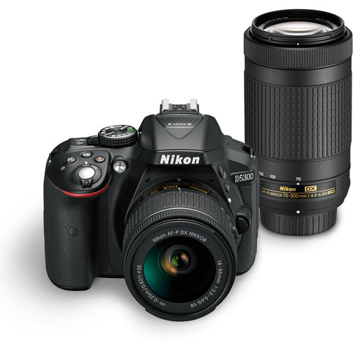 Nikon D5300 DSLR Camera with 18-55mm and 70-300mm Lenses (Black, Open Box)