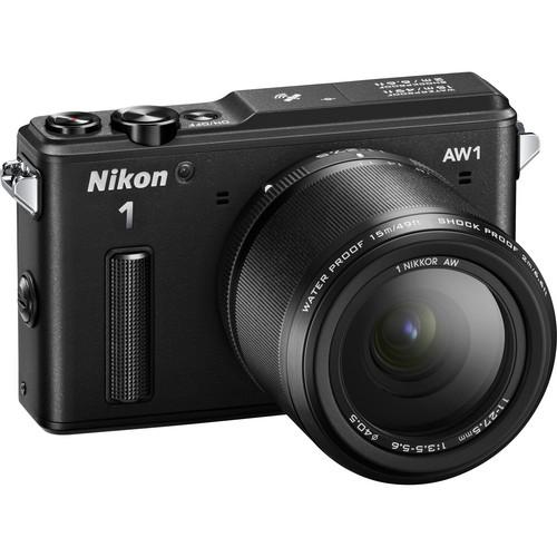 Nikon 1 AW1 Mirrorless Digital Camera Basic Accessory Kit with 11-27.5mm Lens (Black)