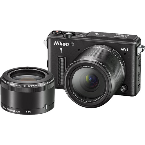 Nikon 1 AW1 Mirrorless Digital Camera Deluxe Accessory Kit with 11-27.5mm and 10mm Lenses (Black)