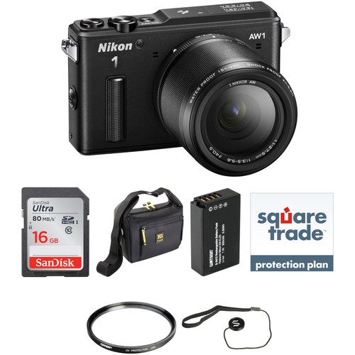 Nikon 1 AW1 Mirrorless Digital Camera Deluxe Accessory Kit with 11-27.5mm Lens (Black)