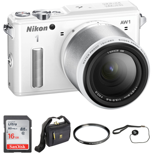Nikon 1 AW1 Mirrorless Digital Camera Basic Accessory Kit with 11-27.5mm Lens (White)