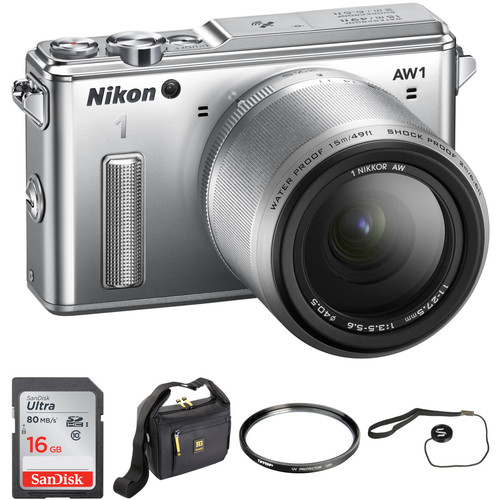 Nikon 1 AW1 Mirrorless Digital Camera Basic Accessory Kit with 11-27.5mm Lens (Silver)