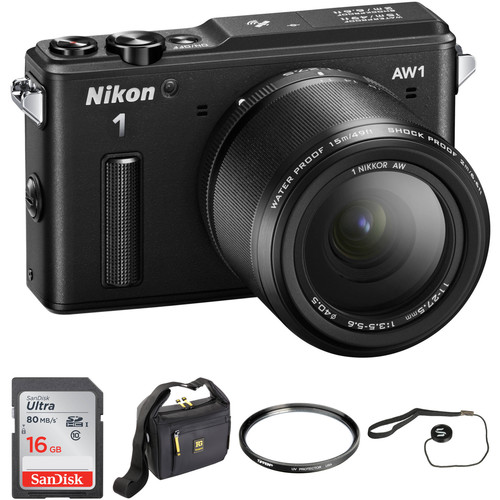 Nikon 1 AW1 Mirrorless Digital Camera Basic Accessory Kit with 11-27.5mm Lens (Black)