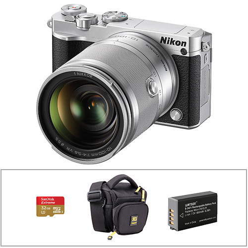 Nikon 1 J5 Mirrorless Digital Camera with 10-100mm Lens and Accessories Kit (Silver)