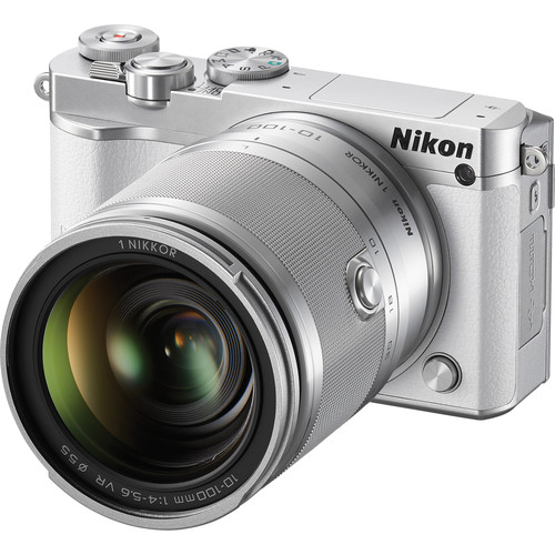 Nikon 1 J5 Mirrorless Digital Camera with 10-100mm Lens and Accessories Kit (White)