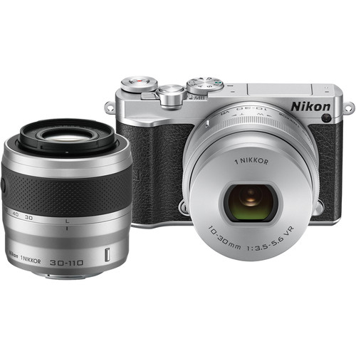 Nikon 1 J5 Mirrorless Digital Camera with 10-30mm and 30-110mm Lenses and Accessories Kit (Silver)