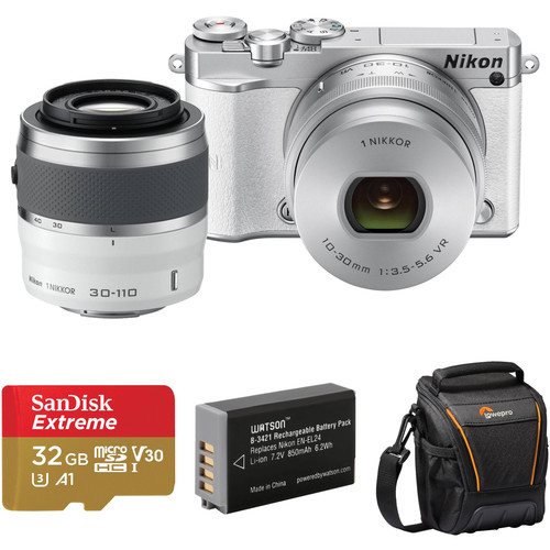 Nikon 1 J5 Mirrorless Digital Camera with 10-30mm and 30-110mm Lenses and Accessories Kit (White)