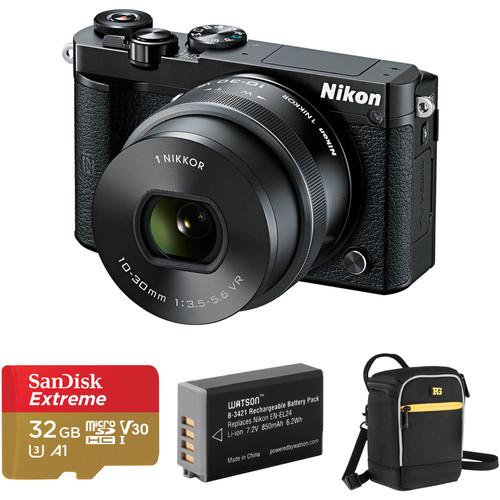 Nikon 1 J5 Mirrorless Digital Camera with 10-30mm Lens and Accessories Kit (Black)