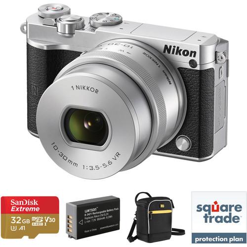 Nikon 1 J5 Mirrorless Digital Camera with 10-30mm Lens Deluxe Kit (Silver)