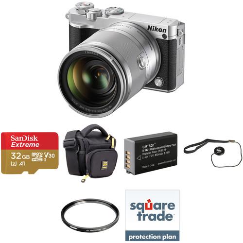 Nikon 1 J5 Mirrorless Digital Camera with 10-100mm Lens Deluxe Kit (Silver)