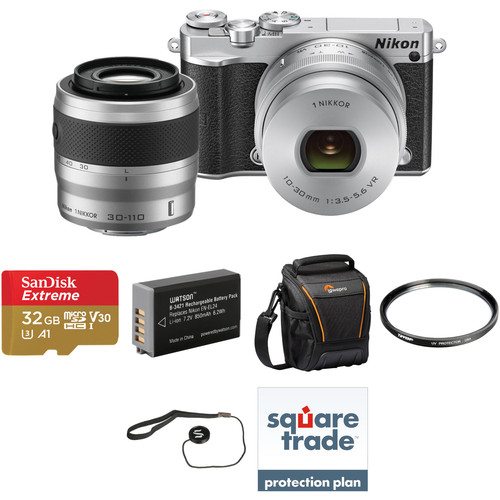 Nikon 1 J5 Mirrorless Digital Camera with 10-30mm and 30-110mm Lenses Deluxe Kit (Silver)