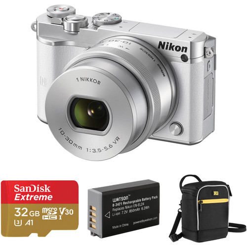 Nikon 1 J5 Mirrorless Digital Camera with 10-30mm Lens and Accessories Kit (White)