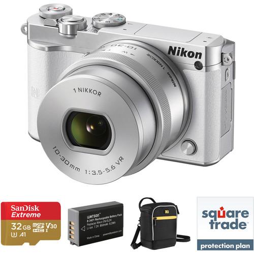 Nikon 1 J5 Mirrorless Digital Camera with 10-30mm Lens Deluxe Kit (White)