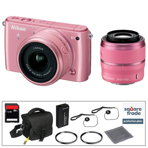 Nikon 1 S1 Mirrorless Digital Camera Deluxe Accessory Kit with 11-27.5mm and 30-110mm Lenses (Pink)