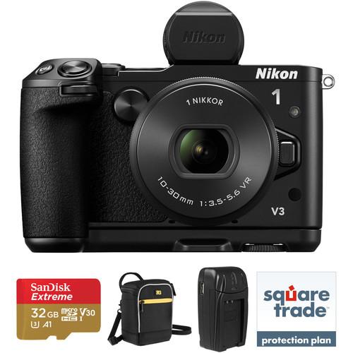 Nikon 1 V3 Mirrorless Digital Camera with 10-30mm Lens Deluxe Kit