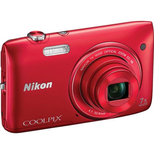 Nikon COOLPIX S3500 Digital Camera (Red)