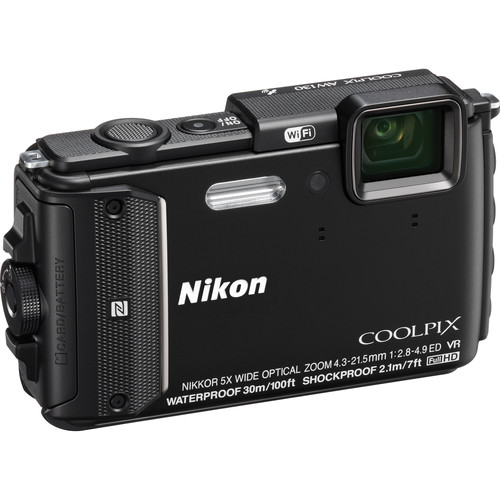 Nikon COOLPIX AW130 Waterproof Digital Camera (Black)