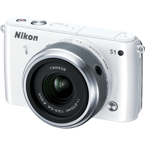 Nikon 1 S1 Mirrorless Digital Camera with 11-27.5mm Lens (White)