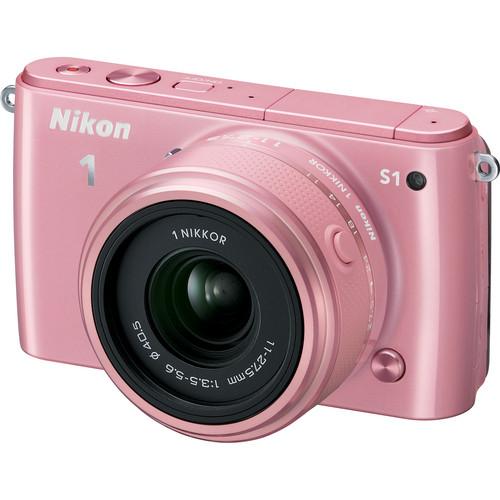Nikon 1 S1 Mirrorless Digital Camera with 11-27.5mm Lens (Pink)