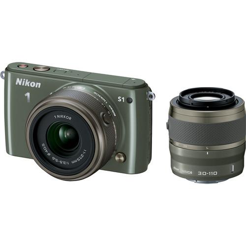 Nikon 1 S1 Mirrorless Digital Camera with 11-27.5mm and 30-110mm Lenses (Khaki)