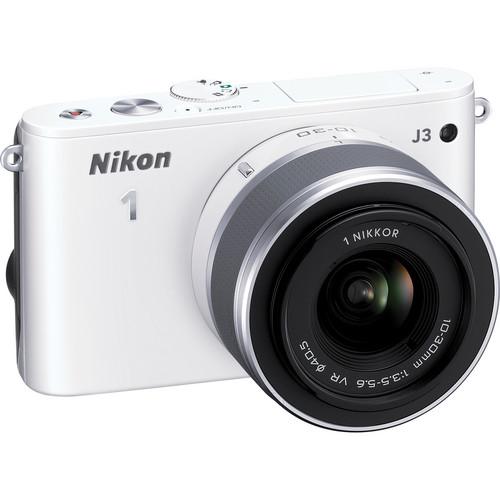 Nikon 1 J3 Mirrorless Digital Camera with 10-30mm Lens (White)