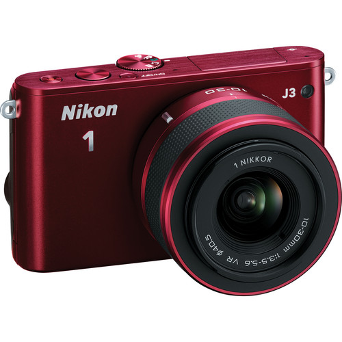 Nikon 1 J3 Mirrorless Digital Camera with 10-30mm Lens (Red)