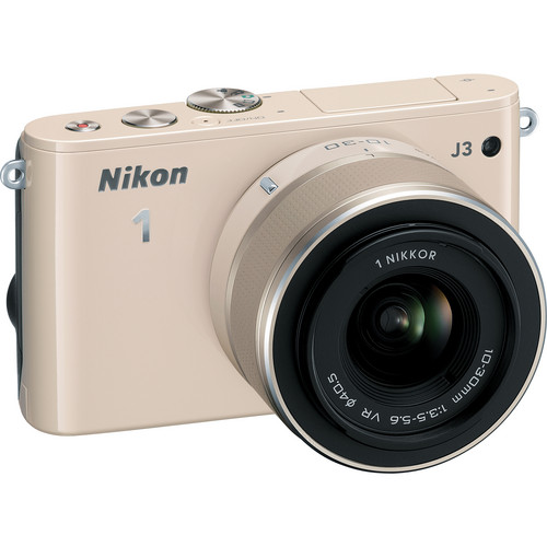 Nikon 1 J3 Mirrorless Digital Camera with 10-30mm Lens (Beige)