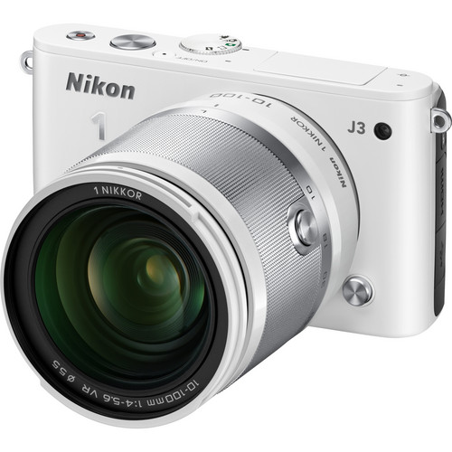 Nikon 1 J3 Mirrorless Digital Camera with 10-100mm Lens (White)