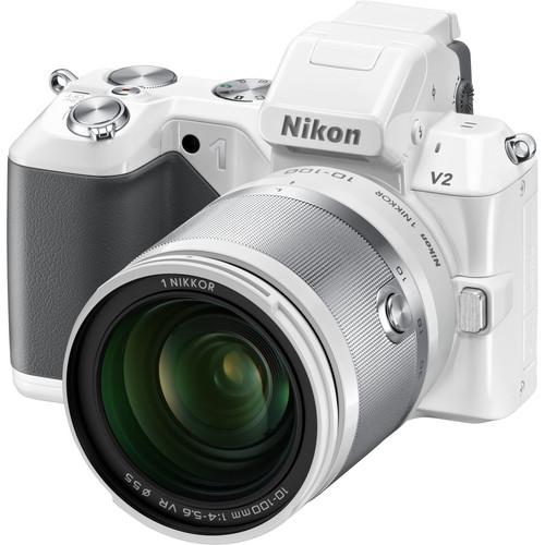 Nikon 1 V2 Mirrorless Digital Camera with 1 NIKKOR 10-100mm Lens (White)