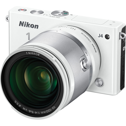 Nikon 1 J4 Mirrorless Digital Camera with 10-100mm Lens (White)
