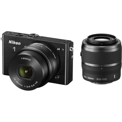 Nikon 1 J4 Mirrorless Digital Camera with 10-30mm and 30-110mm Lenses (Black)
