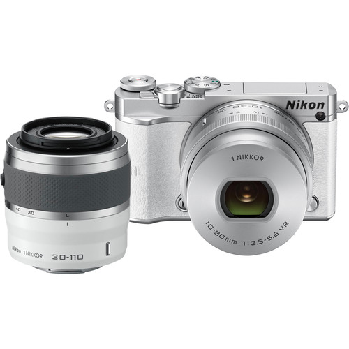Nikon 1 J5 Mirrorless Digital Camera with 10-30mm and 30-110mm Lenses (White)