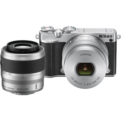 Nikon 1 J5 Mirrorless Digital Camera with 10-30mm and 30-110mm Lenses (Silver)