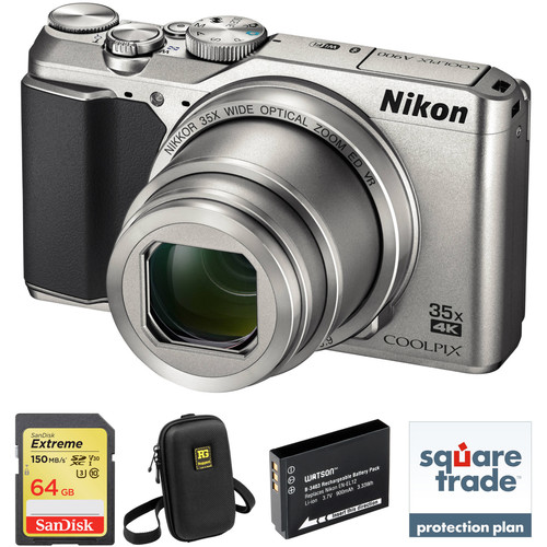 Nikon COOLPIX A900 Digital Camera Deluxe Kit (Silver, Refurbished)