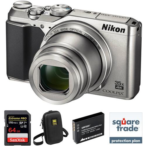 Nikon COOLPIX A900 Digital Camera Deluxe Kit (Silver)