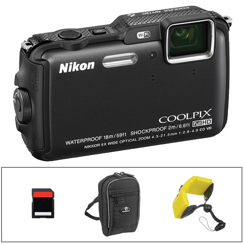 Nikon COOLPIX AW120 Waterproof Digital Camera Basic Kit (Black)
