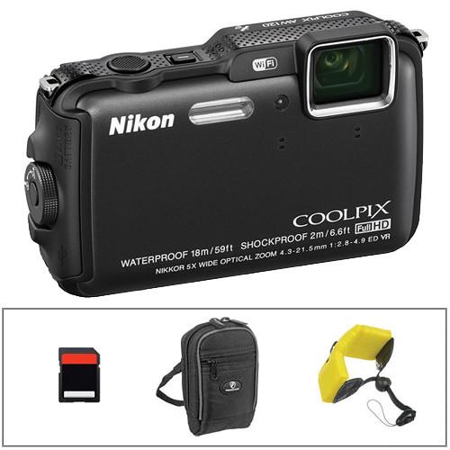 Nikon COOLPIX AW120 Waterproof Digital Camera Basic Kit (Black)