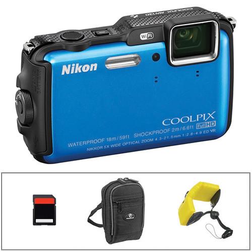 Nikon COOLPIX AW120 Waterproof Digital Camera Basic Kit (Blue)
