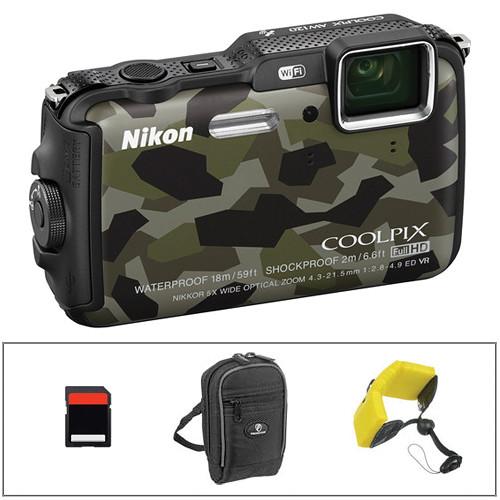 Nikon COOLPIX AW120 Waterproof Digital Camera Basic Kit (Camouflage)