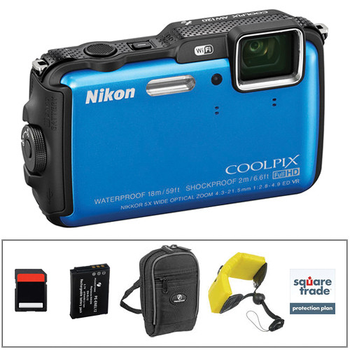 Nikon COOLPIX AW120 Waterproof Digital Camera Deluxe Kit (Blue)