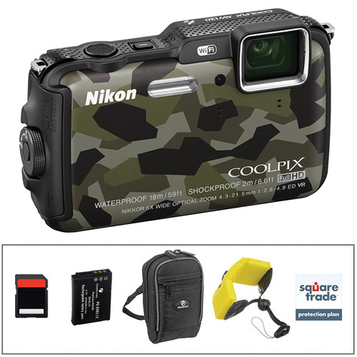 Nikon COOLPIX AW120 Waterproof Digital Camera Deluxe Kit (Camouflage)