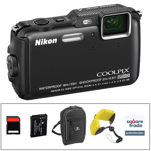 Nikon COOLPIX AW120 Waterproof Digital Camera Deluxe Kit (Black)