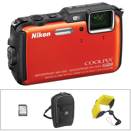 Nikon COOLPIX AW120 Waterproof Digital Camera Basic Kit (Orange)