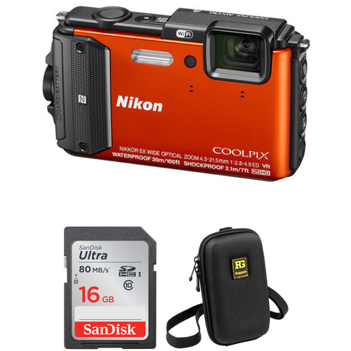 Nikon COOLPIX AW130 Waterproof Digital Camera Basic Kit (Orange)